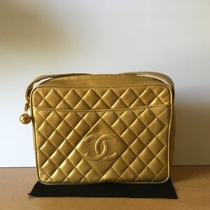 CHANEL Gold Quilted Lambskin Large CC Shoulder Bag